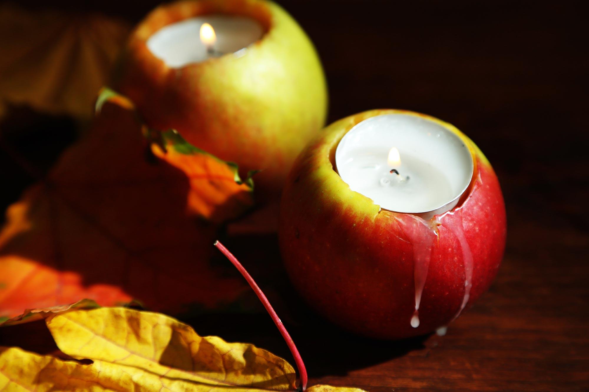 Apfel-Teelichthalter Herbst-Dekoration