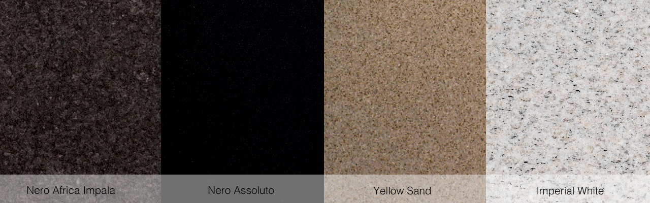 Nero Africa Impala, Nero Assoluto, Yellow Sand und Imperial White.
