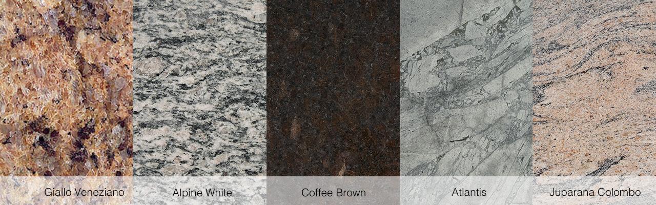 Giallo Veneziano, Alpine White, Coffee Brown, Atlantis und Juparana Colombo.