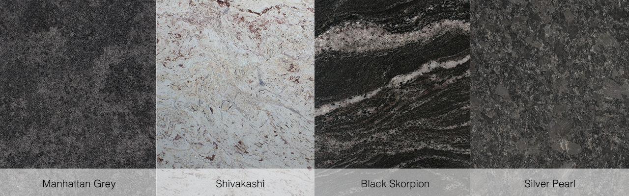 Manhattan Grey, Shivakashi, Black Skorpion und Silver Pearl.