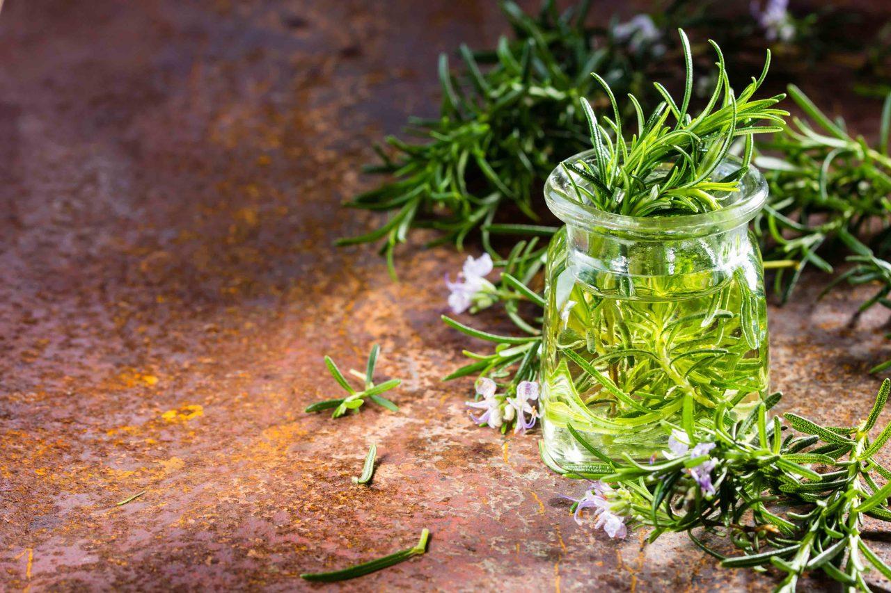 Rosmarinöl in einem kleinen Glas, dekoriert mit vielen Rosmarinzweigen und einigen -blüten.