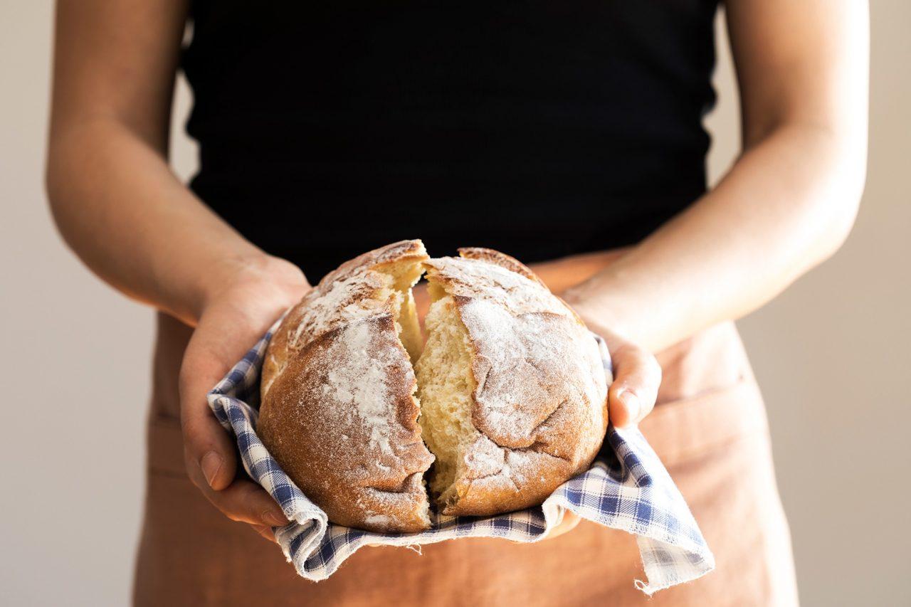 Frisch gebackenes No-Knead-Bread.