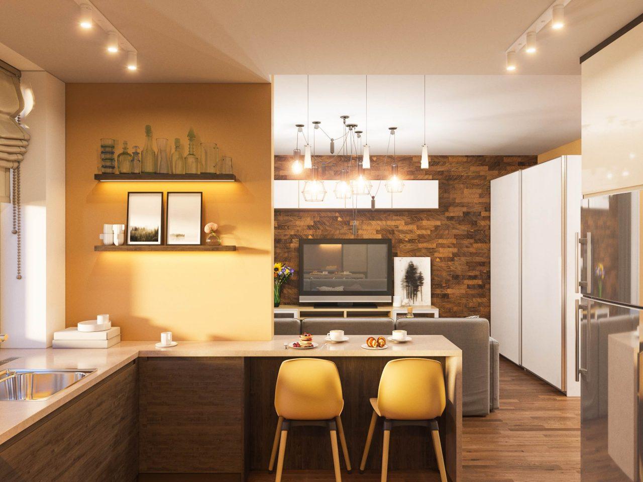 Küche in dunklem Holzton mit hellgelben Wänden und Barhockern.