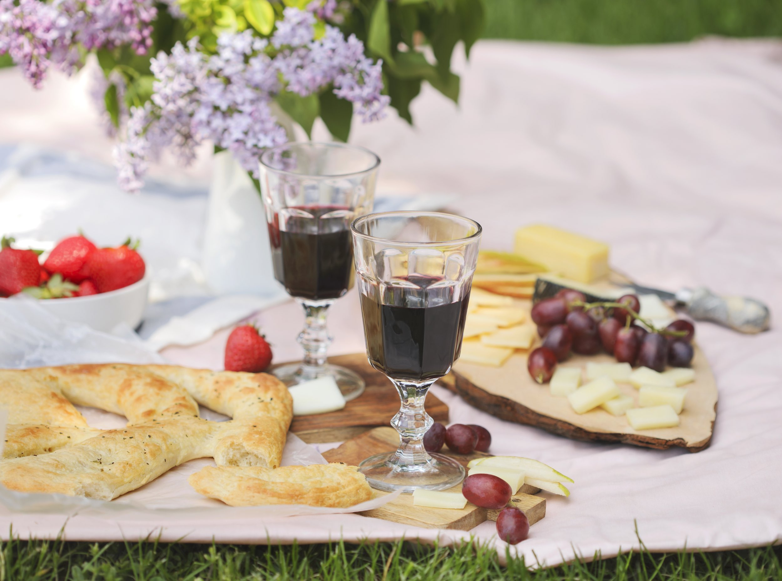 Picknick im Park mit Käse, Brot, Wein und Obst.