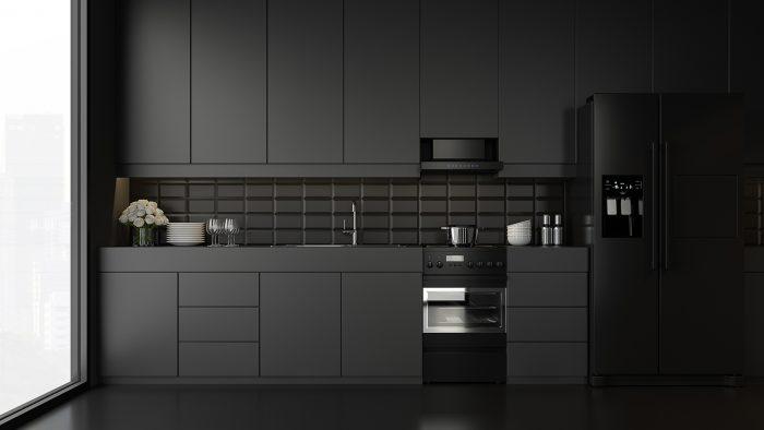 Minimalistische schwarze Küche
