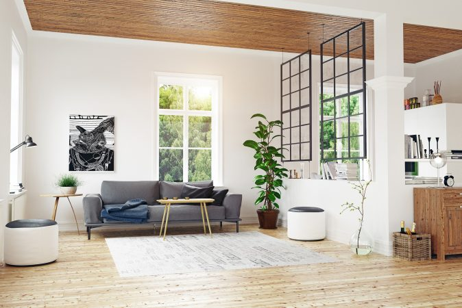 Modernes Design mit hängendem Raumteiler