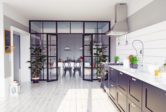 Moderne Küche mit Raumteiler