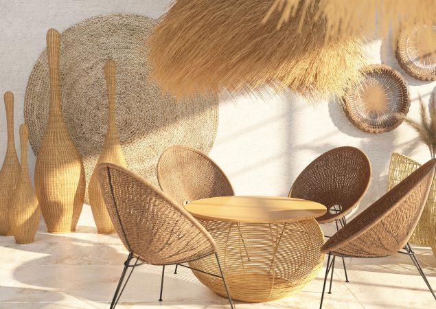 Interieur eines Cafés mit schönen Korbsesseln